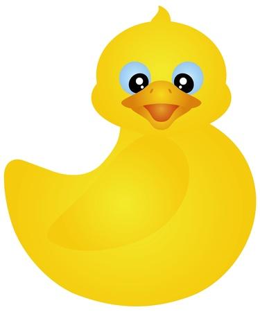 toy ducks: Nataci�n amarilla Ducky de goma aislado en la ilustraci�n de fondo blanco Vectores