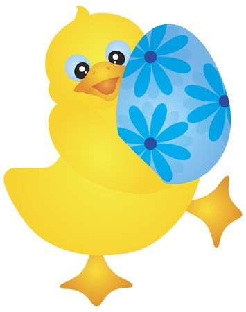 Yellow Duckie Carrying an Happy Easter Day Egg with Floral Pattern Isolated on White Background Illustration