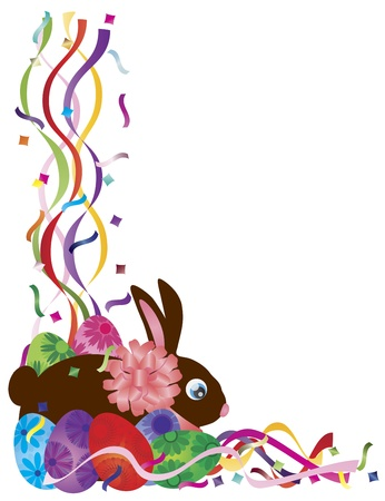 Happy Easter Day Bunny Rabbit and Colorful Eggs in Confetti Border Illustration on White Background