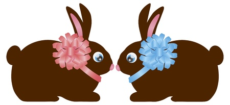 Happy Easter Day Chocolate Bunny Rabbit Pair with Bow Isolated on White Background Illustration Stock Vector - 17591017