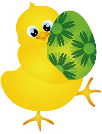 Yellow Chick Carrying an Happy Easter Day Egg with Floral Pattern Isolated on White Background Illustration Vector