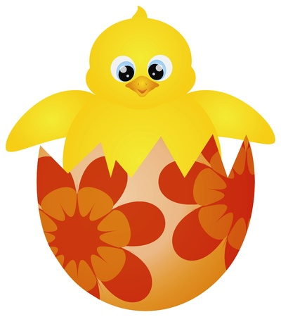 Yellow Chick Hatching from Happy Easter Day Egg with Floral Pattern Isolated on White Background Illustration