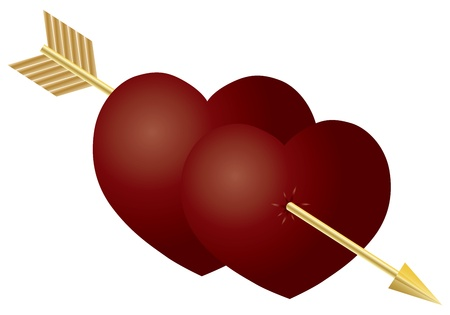 Valentines Day Double Hearts with Gold Arrow Isolated on White Background Illustration Vector