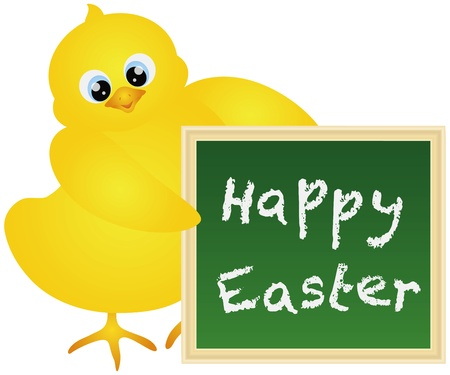 Yellow Chick Holding a Chalkboard with Happy Easter Text Isolated on White Background Illustration