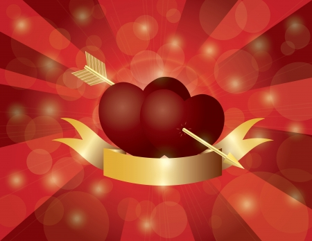 Valentines Day Double Hearts with Gold Arrow and Banner on Red Sun Rays Background Illustration Vector