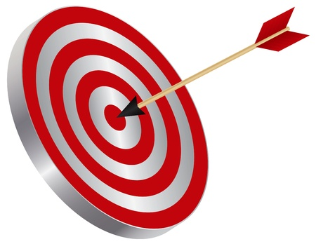 Arrow on Archery Target Bullseye Isolated on White Background Illustration Stock Vector - 17591021