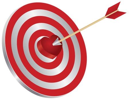 Arrow on Archery Target Red Heart Shape Bullseye Isolated on White Background Illustration Stock Vector - 17591020