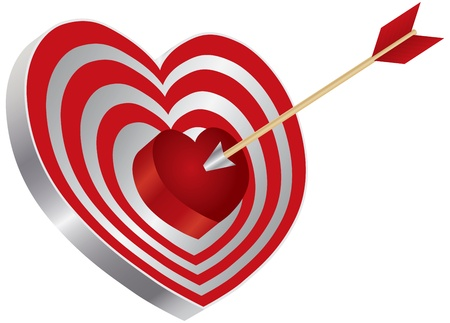 Arrow on Archery Red Heart Shape Target Board Bullseye Isolated on White Background Illustration Stock Vector - 17591027