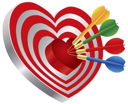 Darts Red Heart Shape Target Dartboard Bullseye Isolated on White Background Illustration Stock Vector - 17591026