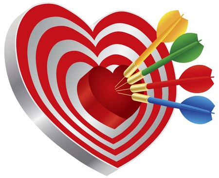 Darts Red Heart Shape Target Dartboard Bullseye Isolated on White Background Illustration