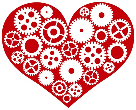 pumping: Valentines Day Red Heart with Mechanical Gears Isolated on White Background Illustration