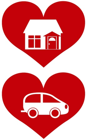 Red Heart with House and Car Icons and Symbols Isolated on White Background Illustration