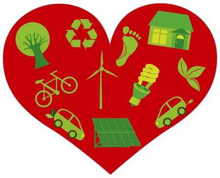 Red Heart with Eco Friendly Recycle Icons and Symbols Isolated on White Background Illustration Vector