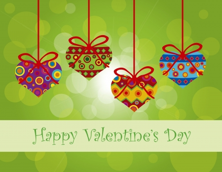 Happy Valentines Day Hanging Heart Shape Christmas Tree Ornaments with Tribal Motif on Bokeh Background Illustration Vector