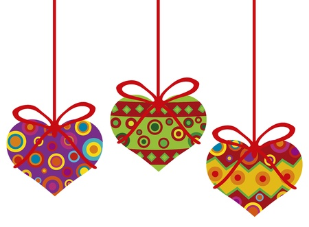 Happy Valentines Day Hanging Heart Shape Christmas Tree Ornaments with Tribal Motif Illustration Vector
