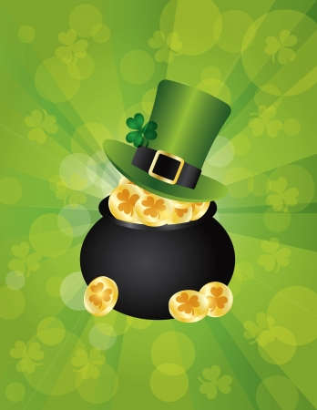 St Patricks Day Irish Leprechaun Hat with Shamrock Leaf on Pot of Gold Coins Illustration on Green Background Stock Vector - 17708269