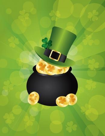 St Patricks Day Irish Leprechaun Hat with Shamrock Leaf on Pot of Gold Coins Illustration on Green Background
