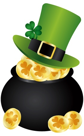 St Patricks Day Irish Leprechaun Hat with Shamrock Leaf on Pot of Gold Coins Illustration Isolated on White Background Vector