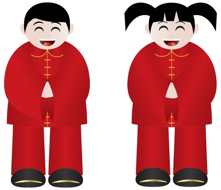 traditional culture: Chinese Lunar New Year Boy and Girl Traditional Costumes Isolated on White Background Illustration