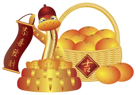 snake bar: Chinese New Year Basket of Mandarin Oranges and Snake with Good Fortune Text Symbol on Sign Isolated on White Background Illustration
