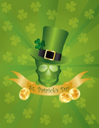 st  patricks: St Patricks Day Irish Leprechaun Hat with Skull Head Banner and Gold Coins Illustration on Green Background