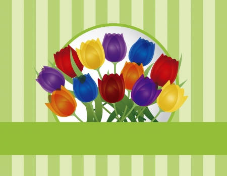 thank you cards: Colorful Tulip Flowers for Easter or Mothers Day on Green Stripes Pattern Background Illustration Illustration