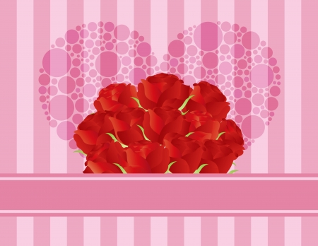 Dozen Red Rose Flowers for Valentines or Mothers Day on Pink Stripes Pattern Background Illustration Vector