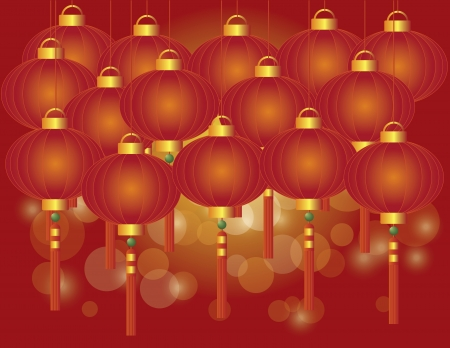 auspicious occasions: Happy Chinese Lunar New Year Red Lanterns on Red Bokeh Background Illustration