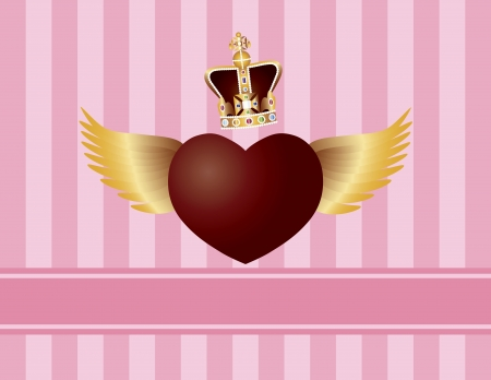 Flying Heart with Wings and Crown for Valentines or Mothers Day on Pink Stripes Pattern Background Illustration Stock Vector - 17708288