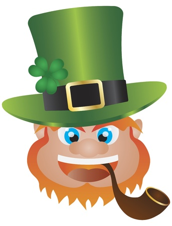 clover face: St Patricks Day Irish Leprechaun Head with Hat and Smoking Pipe Isolated on White Background Illustration