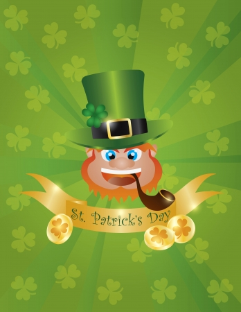 St Patricks Day Irish Leprechaun Head with Hat Smoking Pipe Banner and Gold Coins Illustration on Green Background Vector