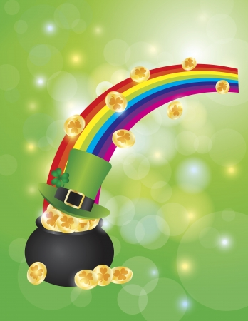 St Patricks Day Pot of Gold and Leprechaun Hat with Sparkles and Bokeh Background Illustration Vector