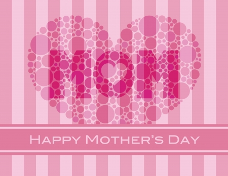 Happy Mothers Day with Heart Shape Polka Dots on Pink Stripes Pattern Background Illustration Stock Vector - 17844598