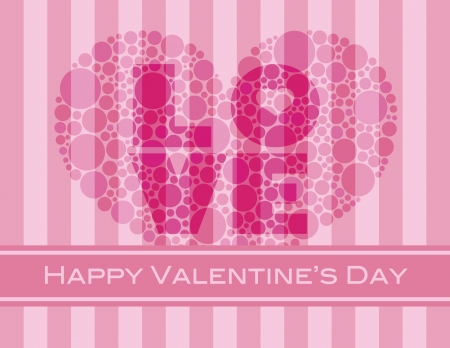 Happy Valentines Day with Love and Heart Shape Polka Dots on Pink Stripes Pattern Background Illustration Stock Vector - 17844567