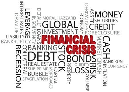 Financial Crisis 3D in Red Word Cloud Illustration Isolated on White Background Stock Vector - 17844601
