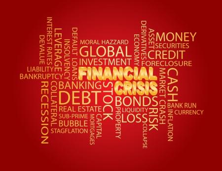 3D crise financière dans Illustration Word Cloud Or Isolé sur fond rouge Banque d'images - 17844571