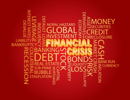 sub: Financial Crisis 3D in Gold Word Cloud Illustration Isolated on Red Background Illustration