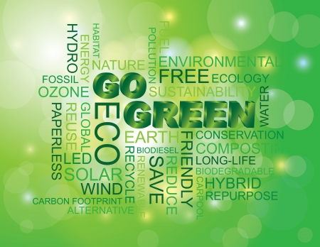 led: Go Green Eco Word Cloud Illustration Isolated on Green Bokeh Background Illustration