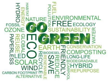 Go Green Eco Word Cloud Illustratie Geà ¯ soleerd op witte achtergrond Stock Illustratie