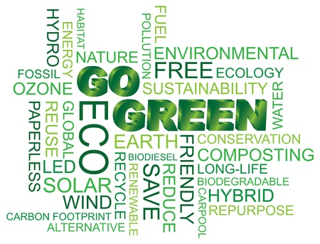 sostenibilit�: Go Green Eco Word cloud illustrazione isolato su sfondo bianco Vettoriali