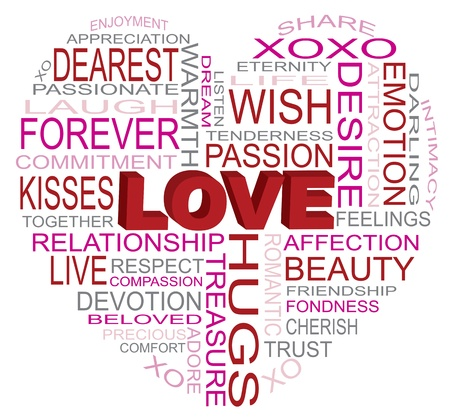 Valentines Day Love Word Cloud in Heart Shape Outline Isolated on White Background Illustration Stock Vector - 17844570