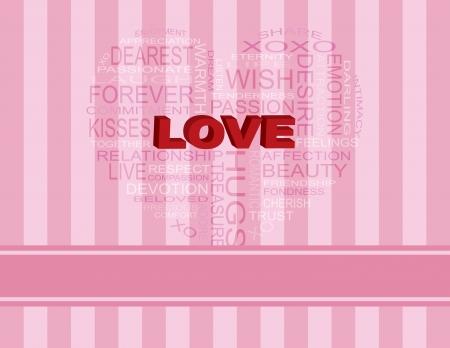 분홍색 줄무늬 배경 일러스트 레이 션에 하트 모양의 개요에 단어 구름 사랑