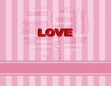 Love Word Cloud in Heart Shape Outline on Pink Stripes Background Illustration Stock Vector - 17844652
