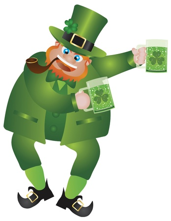 St Patricks Day Irish Leprechaun with Hat and Smoking Pipe Holding Two Glasses of Green Beer Isolated on White Background Illustration Vector
