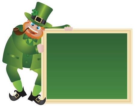 special occasion: St Patricks Day Irish Leprechaun with Hat and Smoking Pipe Holding Chalkboard Sign Isolated on White Background Illustration
