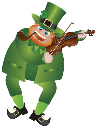 St Patricks Day Irish Leprechaun with Hat and Smoking Pipe Playing Violin Isolated on White Background Illustration Vector