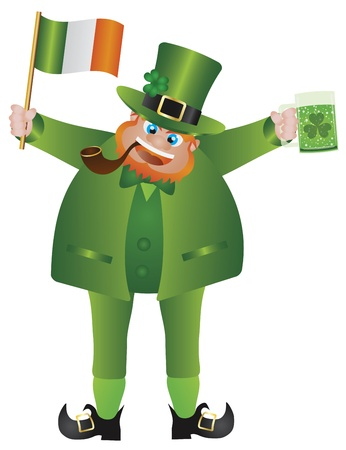 good luck charm: St Patricks Day Irish Leprechaun with Hat and Smoking Pipe Holding Ireland Flag and Glass of Green Beer Isolated on White Background Illustration Illustration