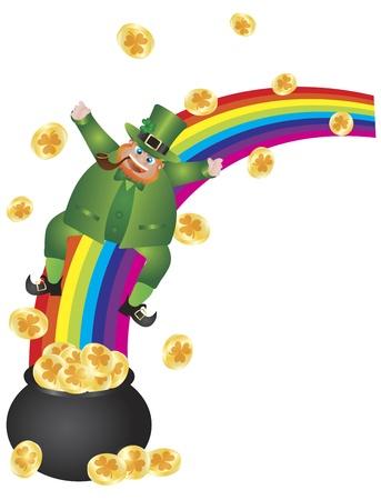 St Patricks Day Irish Leprechaun Sliding Down Rainbow onto Pot of Gold Coins Illustration Isolated on White Background Stock Vector - 17844682