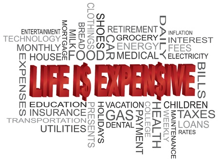 medical bills: Life is Expensive 3D Word Cloud and Dollar Sign Isolated on White Background Illustration