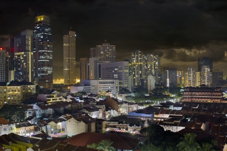 Singapore Central Business District Skyline and Chinatown Cityscape at Night photo